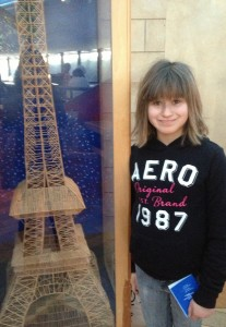 A toothpicked version of the Eiffel Tower. I hope to show her the real one some day